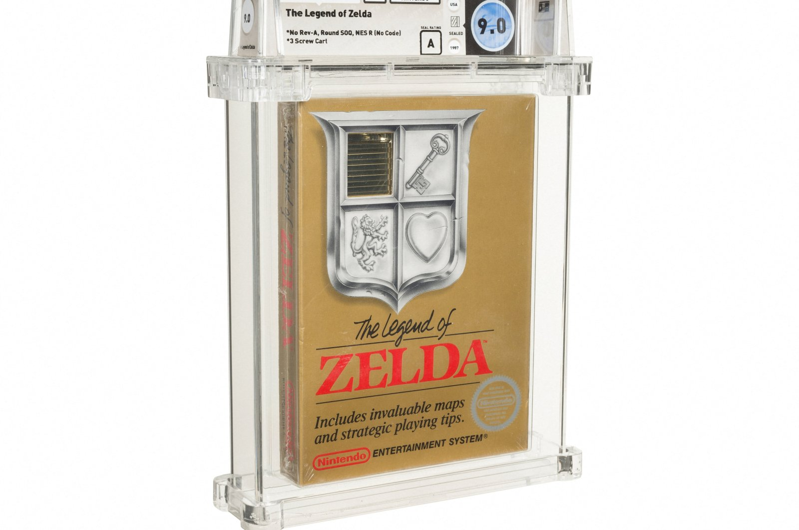 This undated handout photo released by Heritage Auctions on July 9, 2021 shows a sealed copy of the Nintendo NES game 'The Legend of Zelda'. (AFP Photo/Heritage Auctions/Handout)