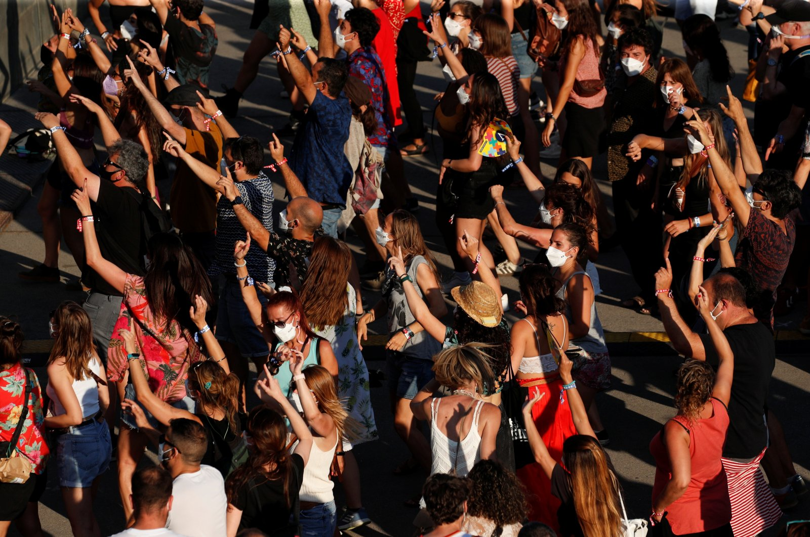 People attend the Cruilla music festival, after passing a COVID-19 antigen test, in Barcelona, Spain, July 10, 2021. (Reuters Photo)