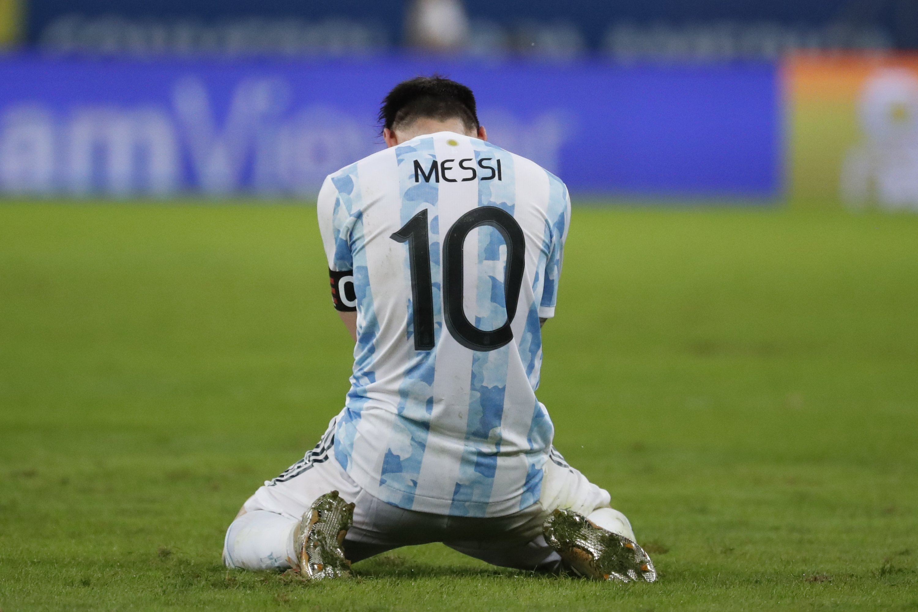 Argentina's Lionel Messi kneels at the end of the Copa America final match at the Maracana stadium in Rio de Janeiro, Brazil, July 10, 2021. (AP Photo)