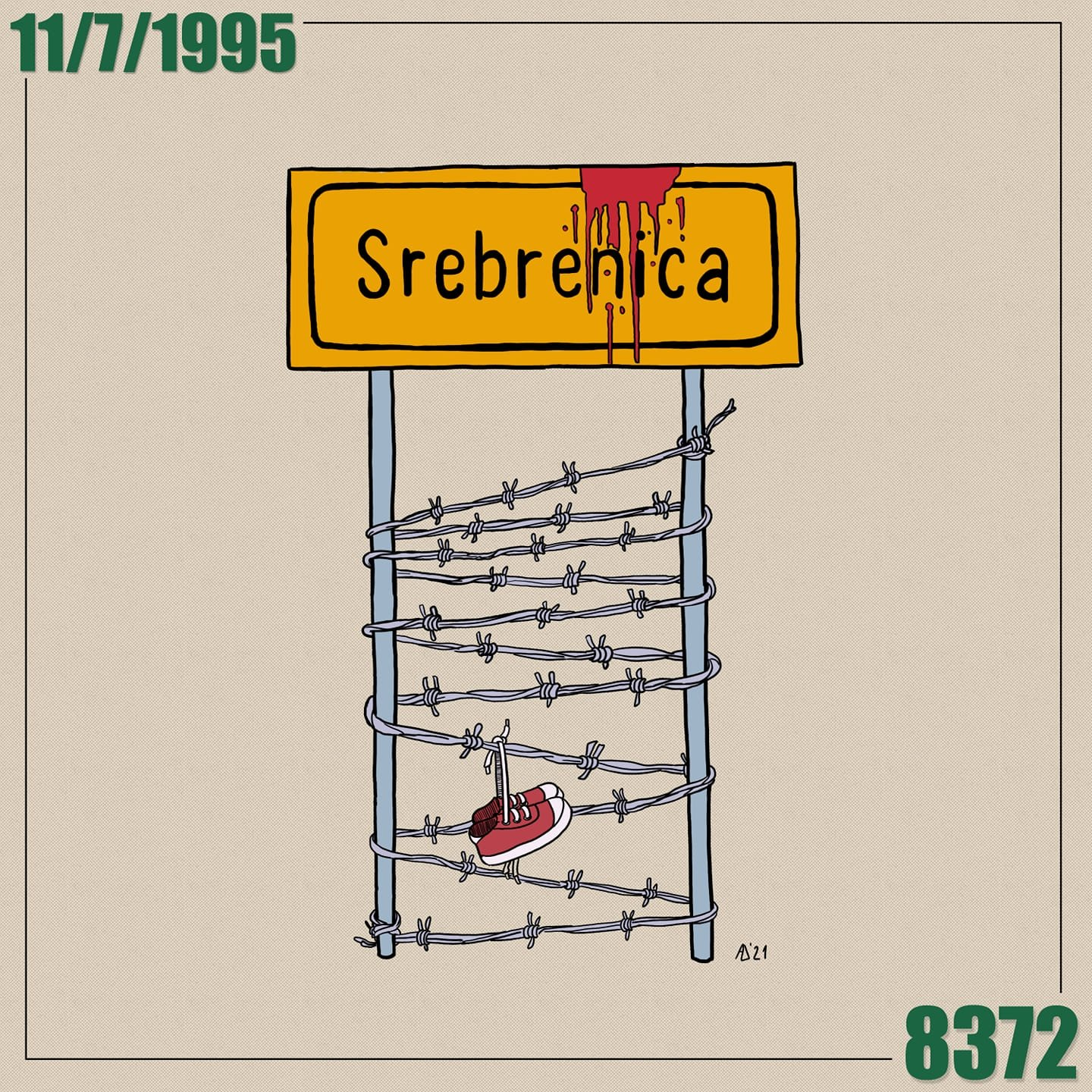 A caricature depicting the Srebrenica genocide, by Admir Delic. (AA Photo)