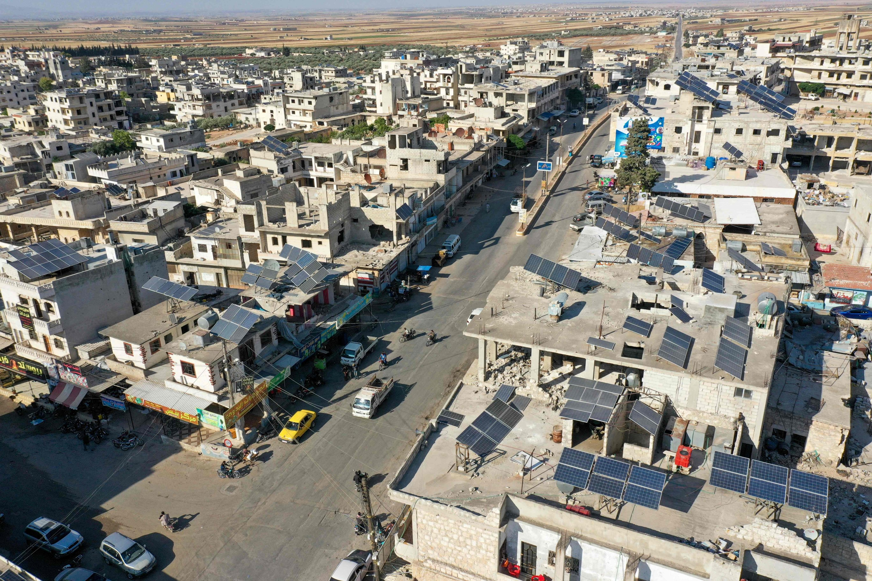 Solar panels on rooftops in Binnish in Syria's opposition-held northwestern province of Idlib, Syria, June 3, 2021. (AFP Photo)