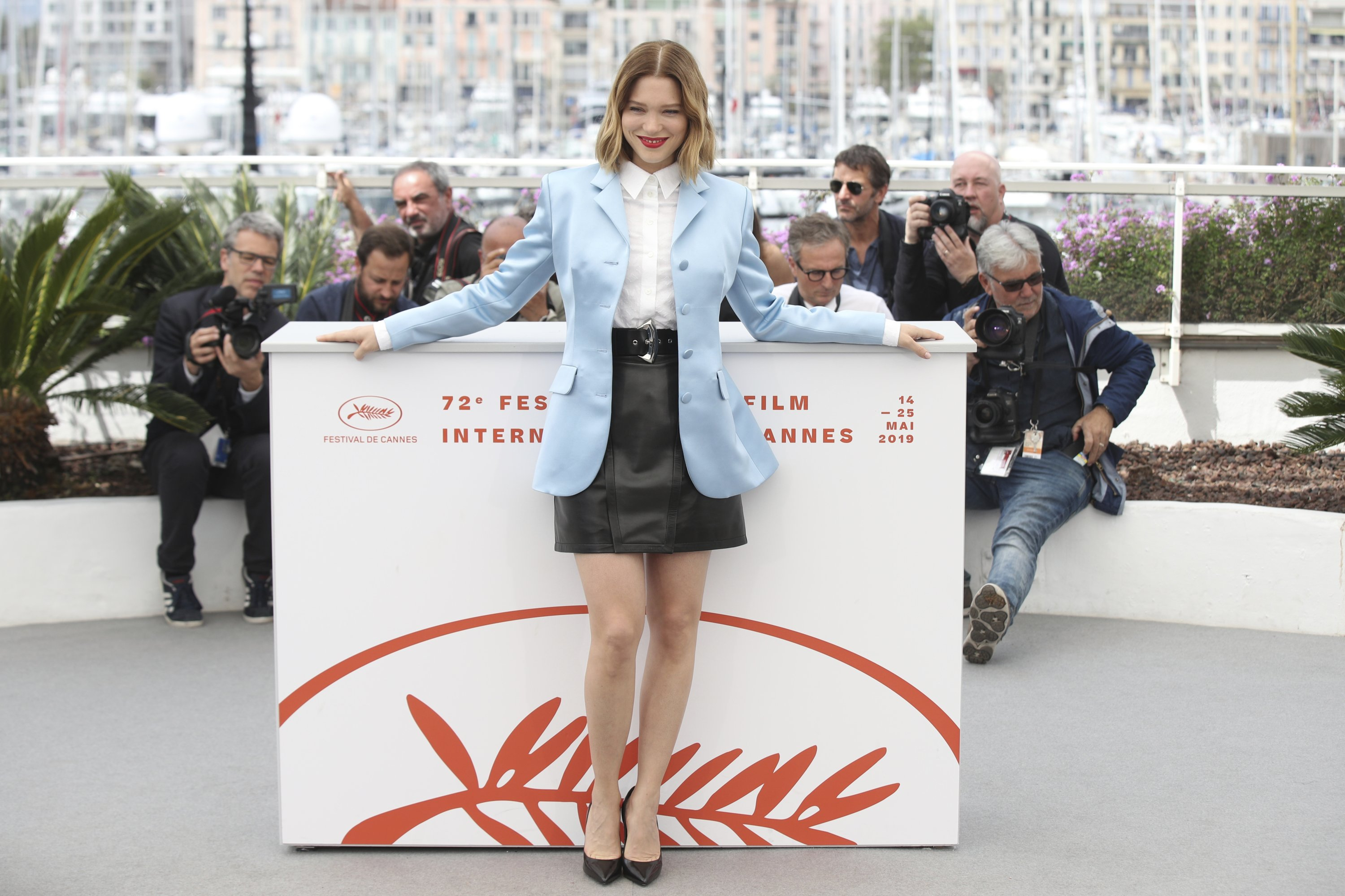 Lea Seydoux poses for photographers at the photocall for the film 'Oh Mercy' at the 72nd Cannes film festival, Cannes, France, May 23, 2019. (AP File Photo)