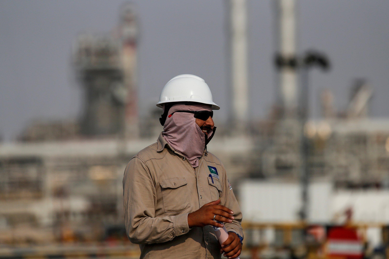 An employee looks on at Saudi Aramco oil facility in Abqaiq, Saudi Arabia, on Oct. 12, 2019. (REUTERS Photo)