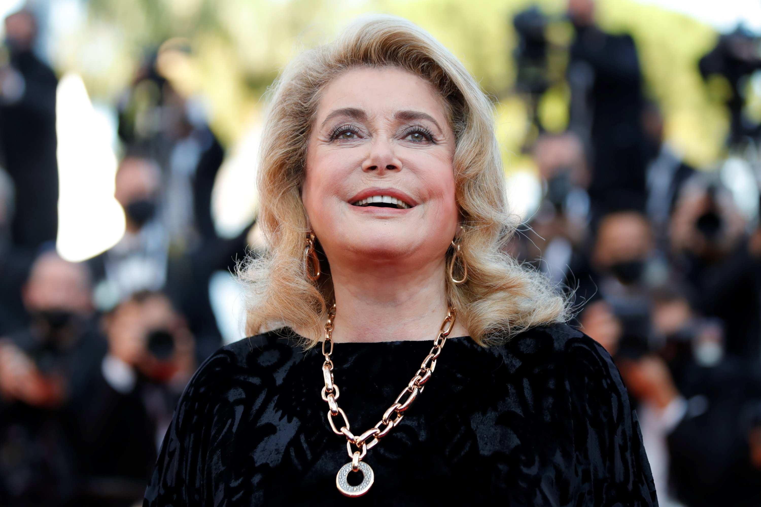 Catherine Deneuve poses during a photocall for the film 'De son vivant' (Peaceful) at the74th Cannes Film Festival inCannes, France, July 11, 2021. (Reuters Photo)