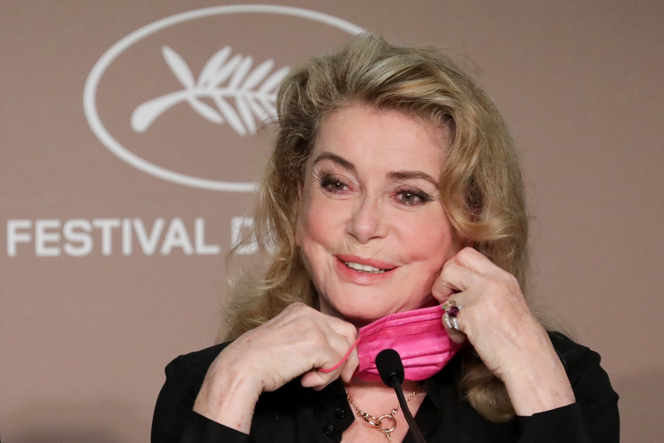 Catherine Deneuve attends a news conferencefor the film 'De son vivant' (Peaceful) at the 74th Cannes Film Festival in Cannes, France, July 11, 2021. (Reuters Photo)