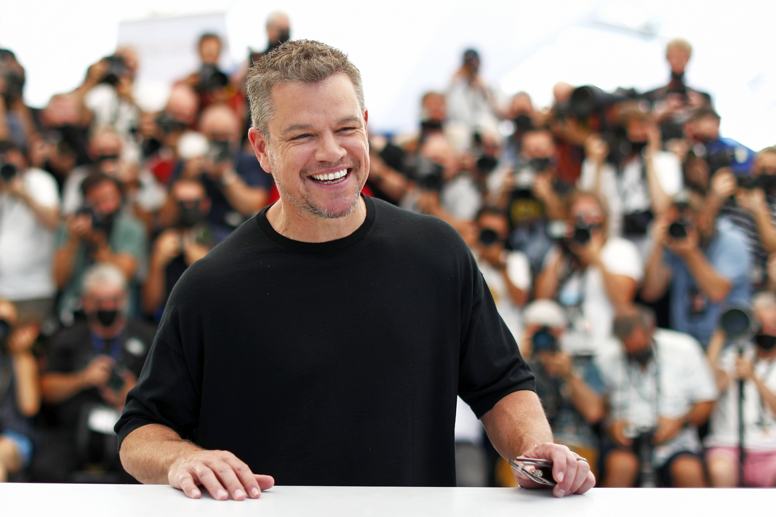 Actor Matt Damon poses during a photocall for the film 'Stillwater' at the 74th Cannes Film Festival in Cannes, France, July 9, 2021. (Reuters Photo)