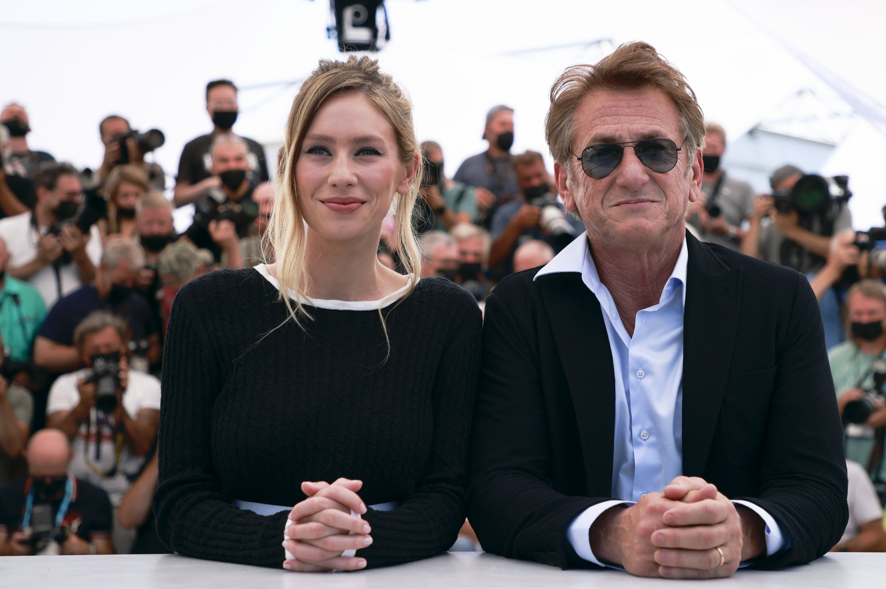 The 74th Cannes Film Festival – Photocall for the film 'Flag Day' in competition – Cannes, France, July 11, 2021. Director Sean Penn and cast member Dylan Penn pose. (Reuters Photo)