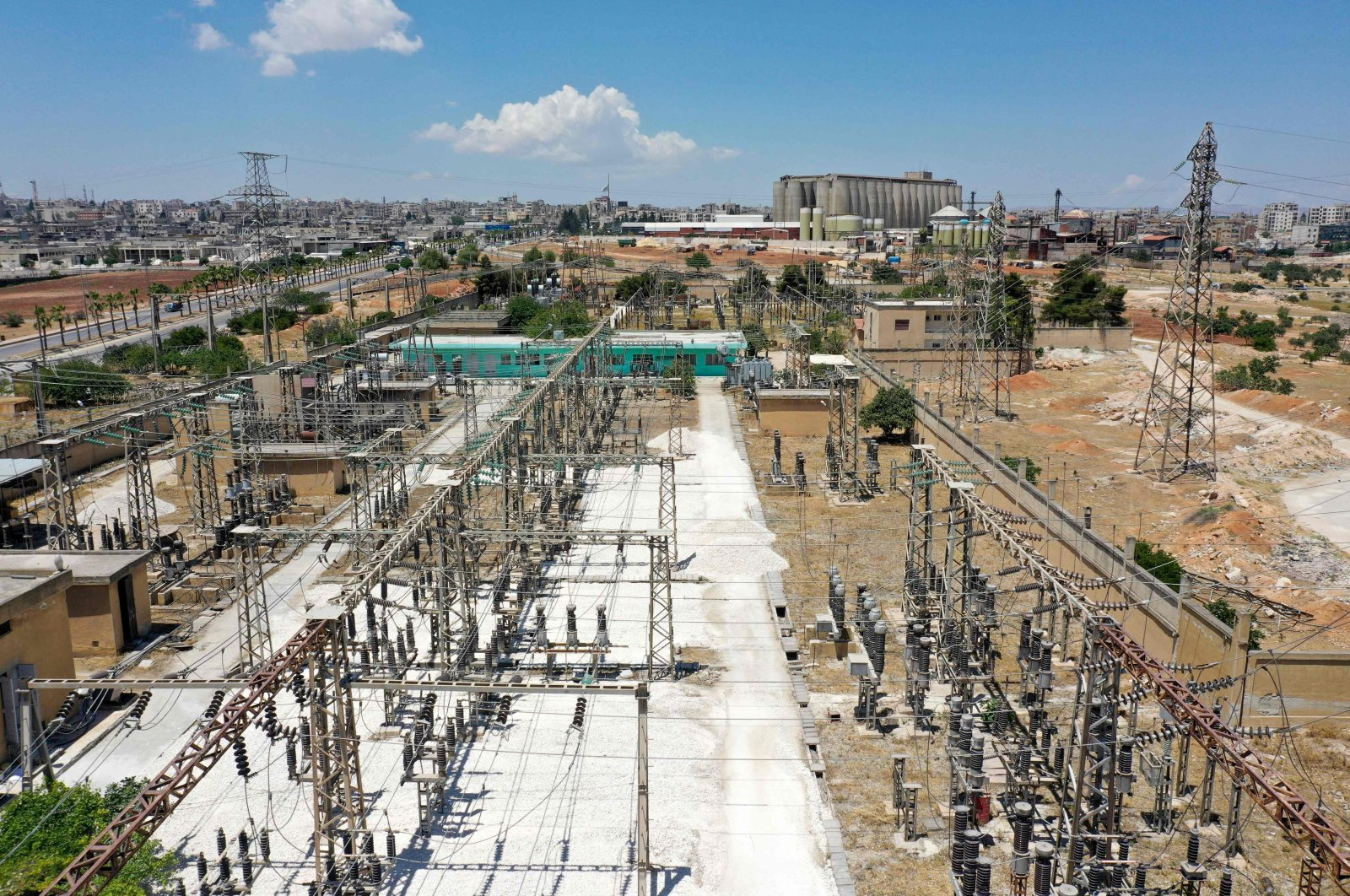The main power distribution facilities in the opposition-held northwestern city of Idlib, Syria, June 6, 2021. (AFP Photo)