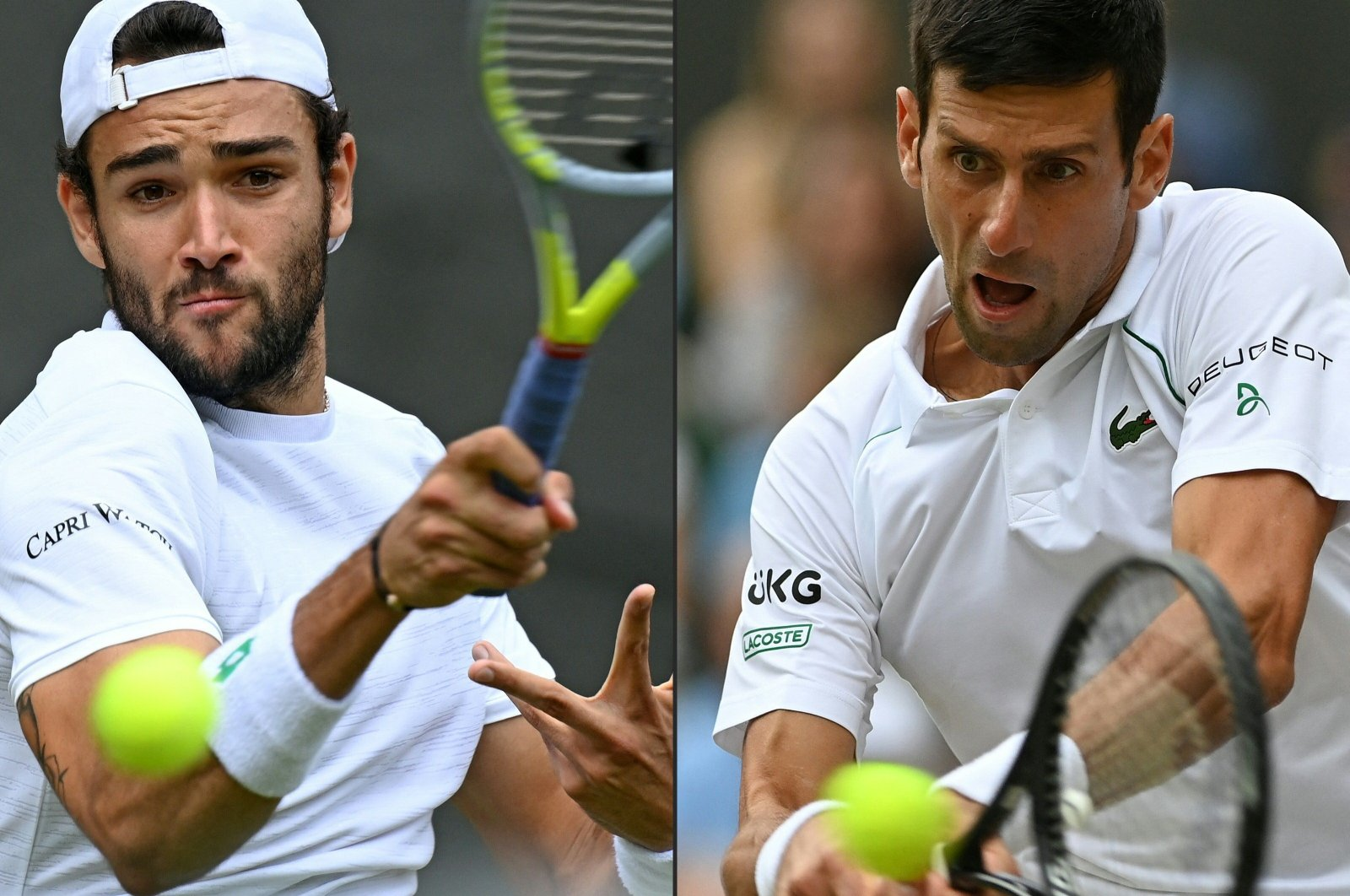 This combination of pictures created on July 10, 2021 shows Italy's Matteo Berrettini (L) and Serbia's Novak Djokovic. (AFP Photo)