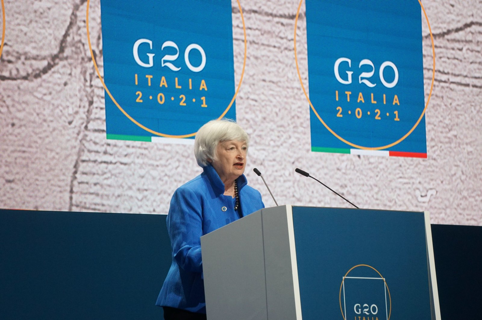 United States Secretary of Treasury Janet Yellen holds a press conference during the G-20 finance ministers and central bankers meeting in Venice, Italy, July 11, 2021. (EPA Photo)