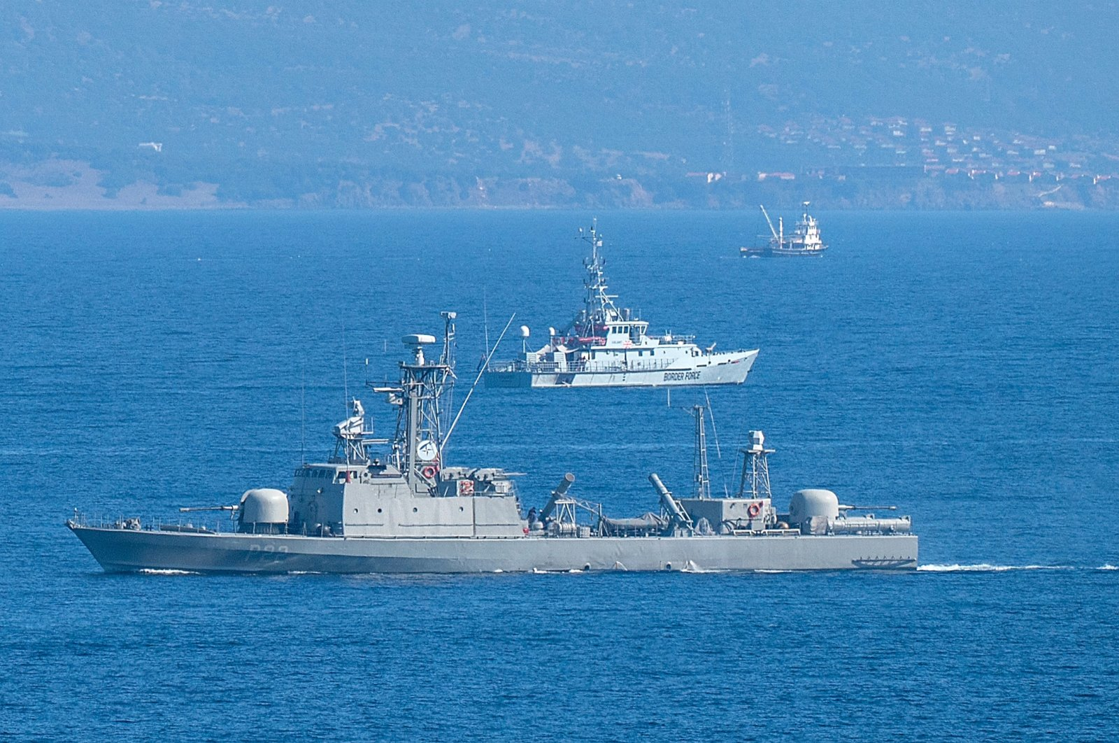 Greek navy ships patrol the Aegean Sea between Turkey and Lesbos Island, October 13, 2019. (Getty Images)