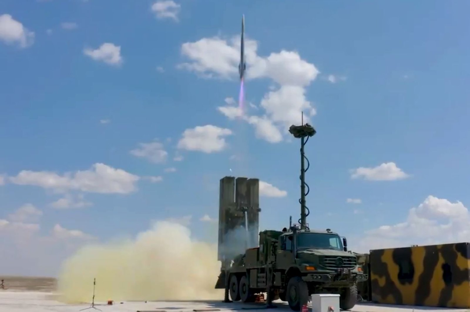 A screengrab from the video showing the Hisar O+ air defense system's test firing, July 10, 2021. (DHA Photo)
