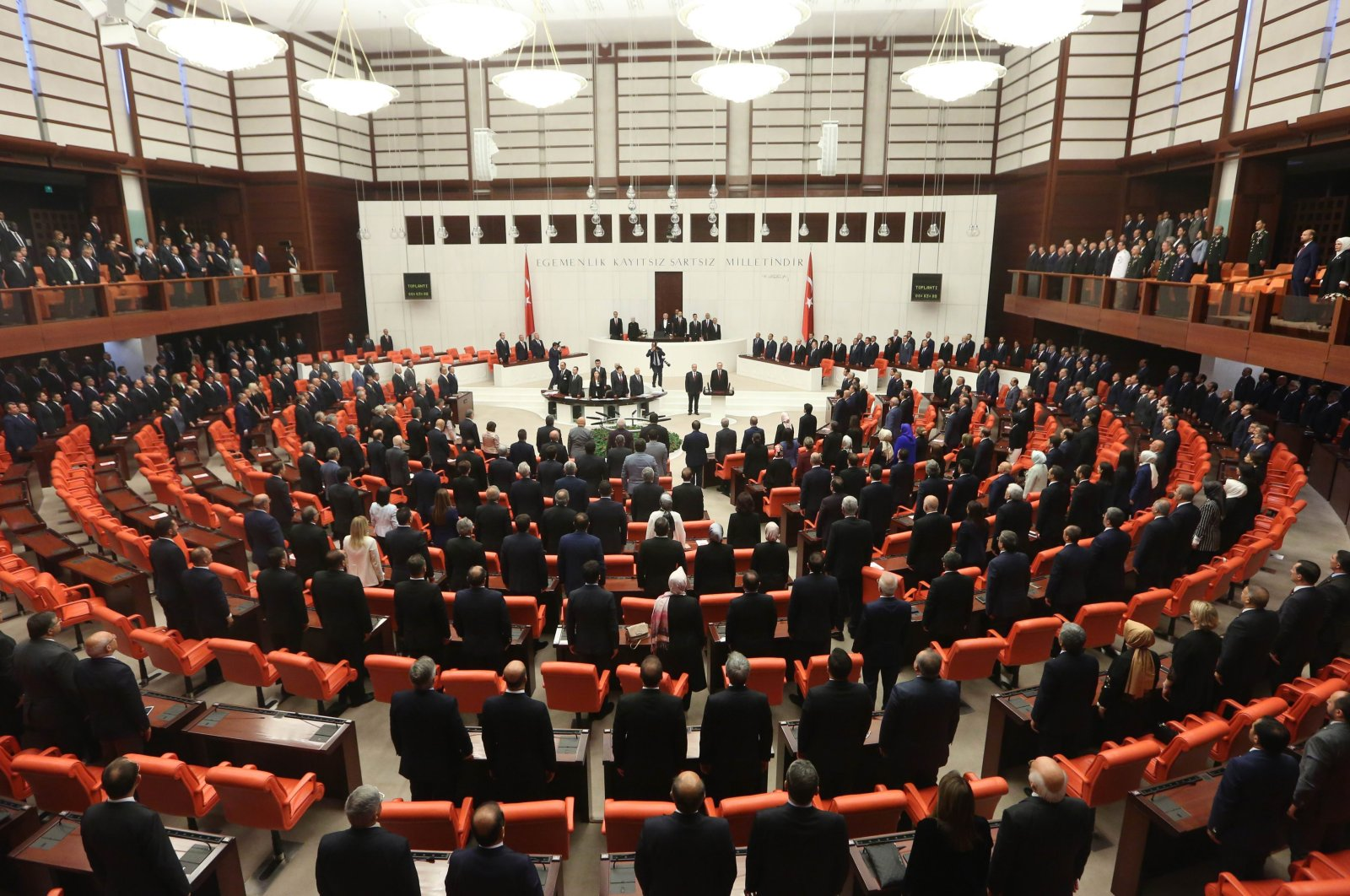 Turkish President Recep Tayyip Erdoğan (C) takes an oath of office before lawmakers under a new system of government at the Grand National Assembly of Turkey in Ankara, Turkey, on Monday, July 9, 2018. (Getty Images)