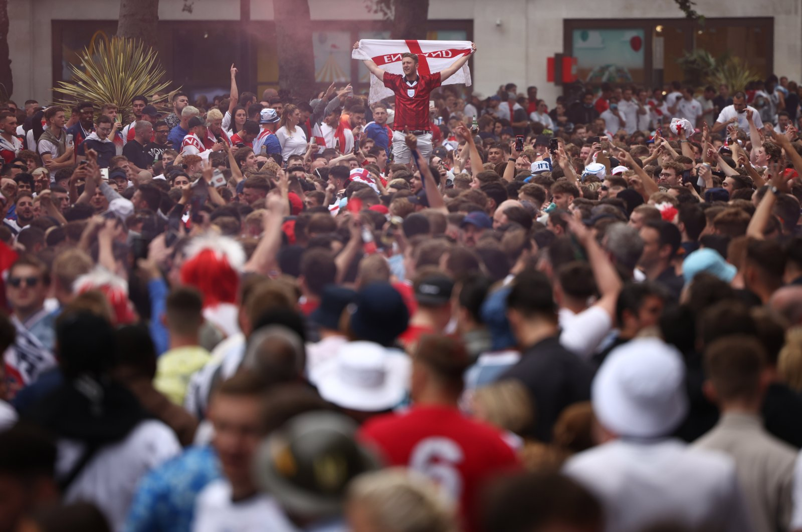 England fans gather at Leicester Square ahead of the Euro 2020 final between England and Italy, London, England, July 11, 2021. (Reuters Photo)