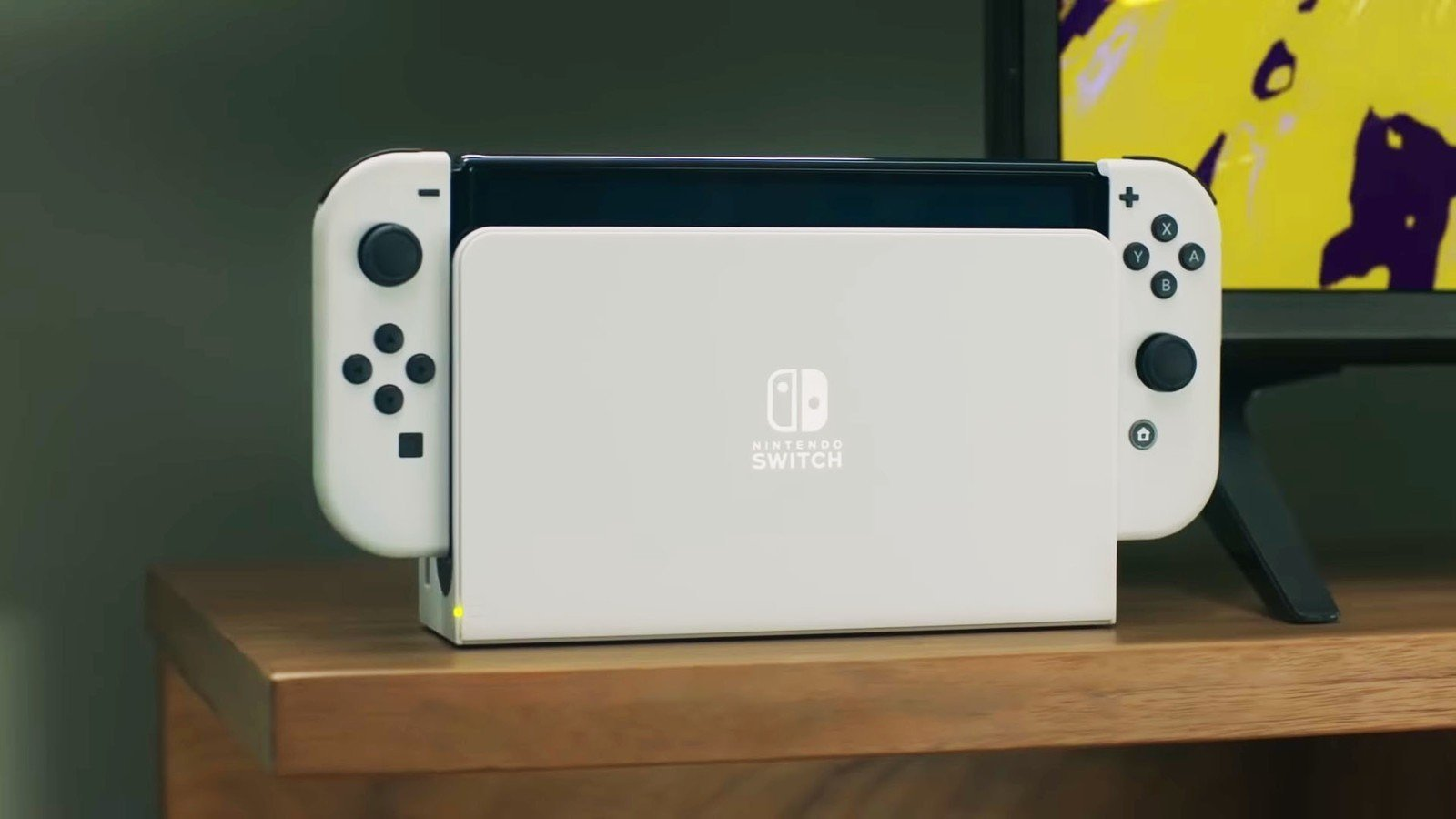 The new OLED model Nintendo Switch is seen in docked mode