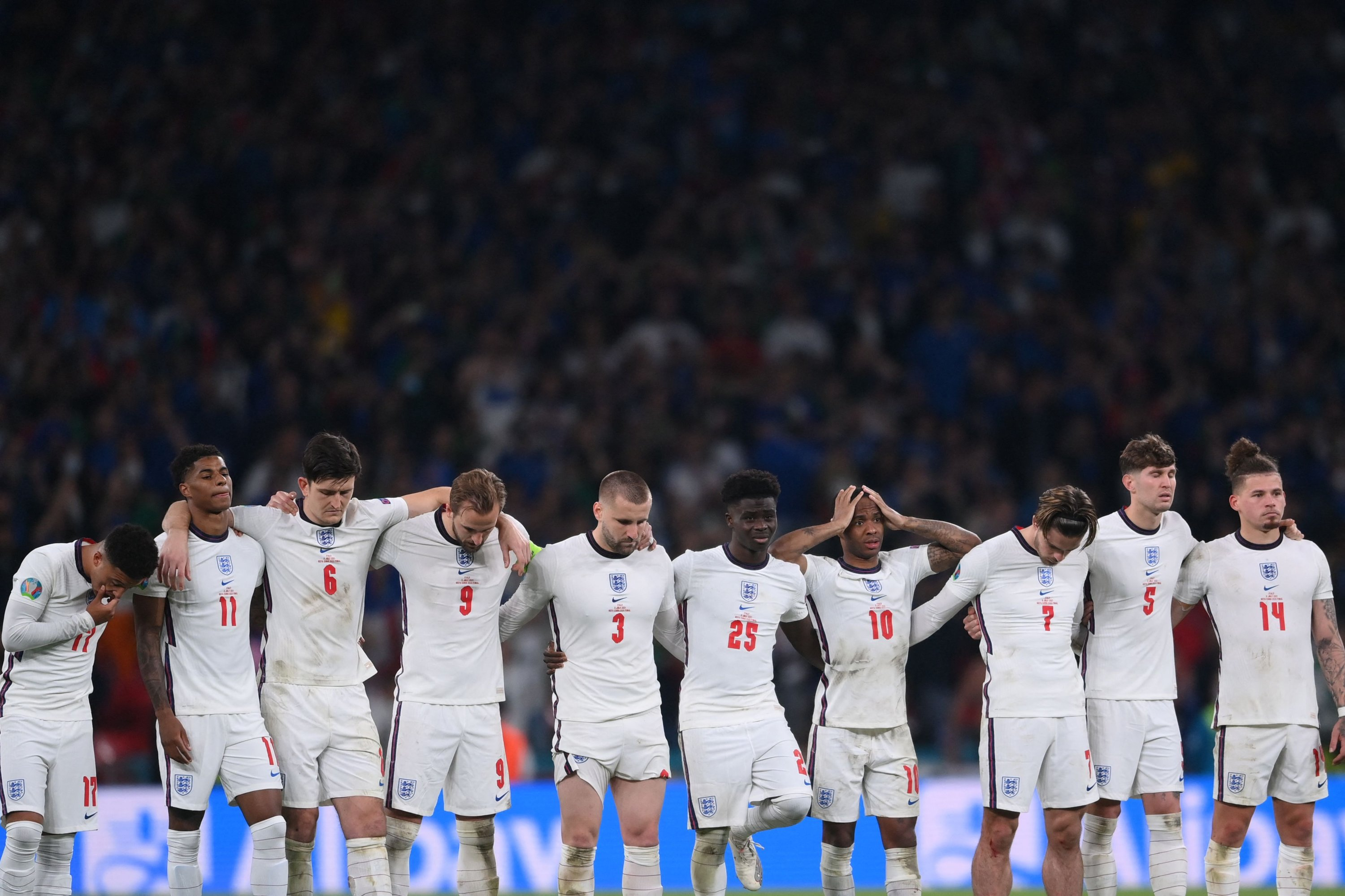 England players watch the penalty shootout during the Eur 2020 final match against Italy at Wembley Stadium in London, England, July 11, 2021. (AFP Photo)