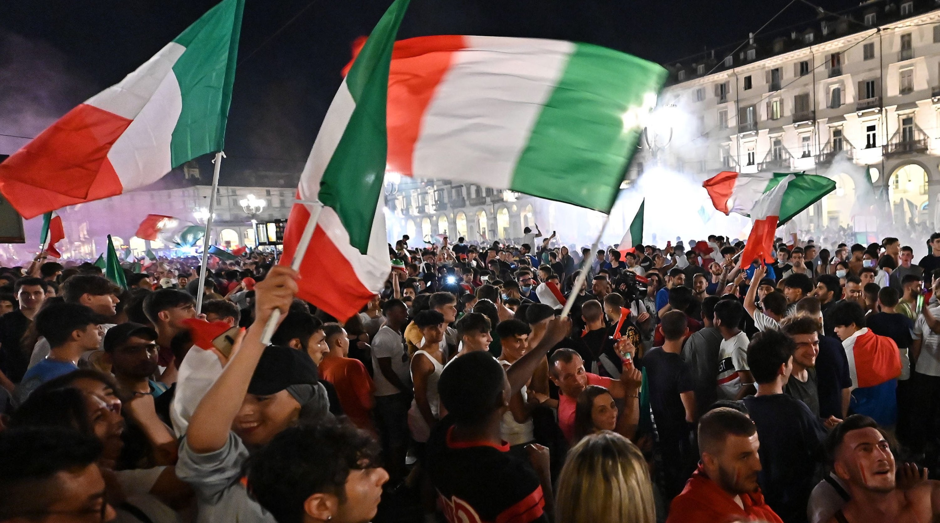 Italy supporters celebrate their team's UEFA Euro 2020 final victory over England, Turin, northern Italy, July 11, 2021. (EPA Photo)