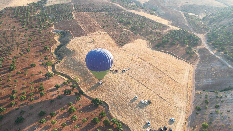 The first balloons of the season take off near the ancient site of Göbeklitepe in Şanlıurfa province, southeastern Turkey, July 12, 2021. (DHA Photo)