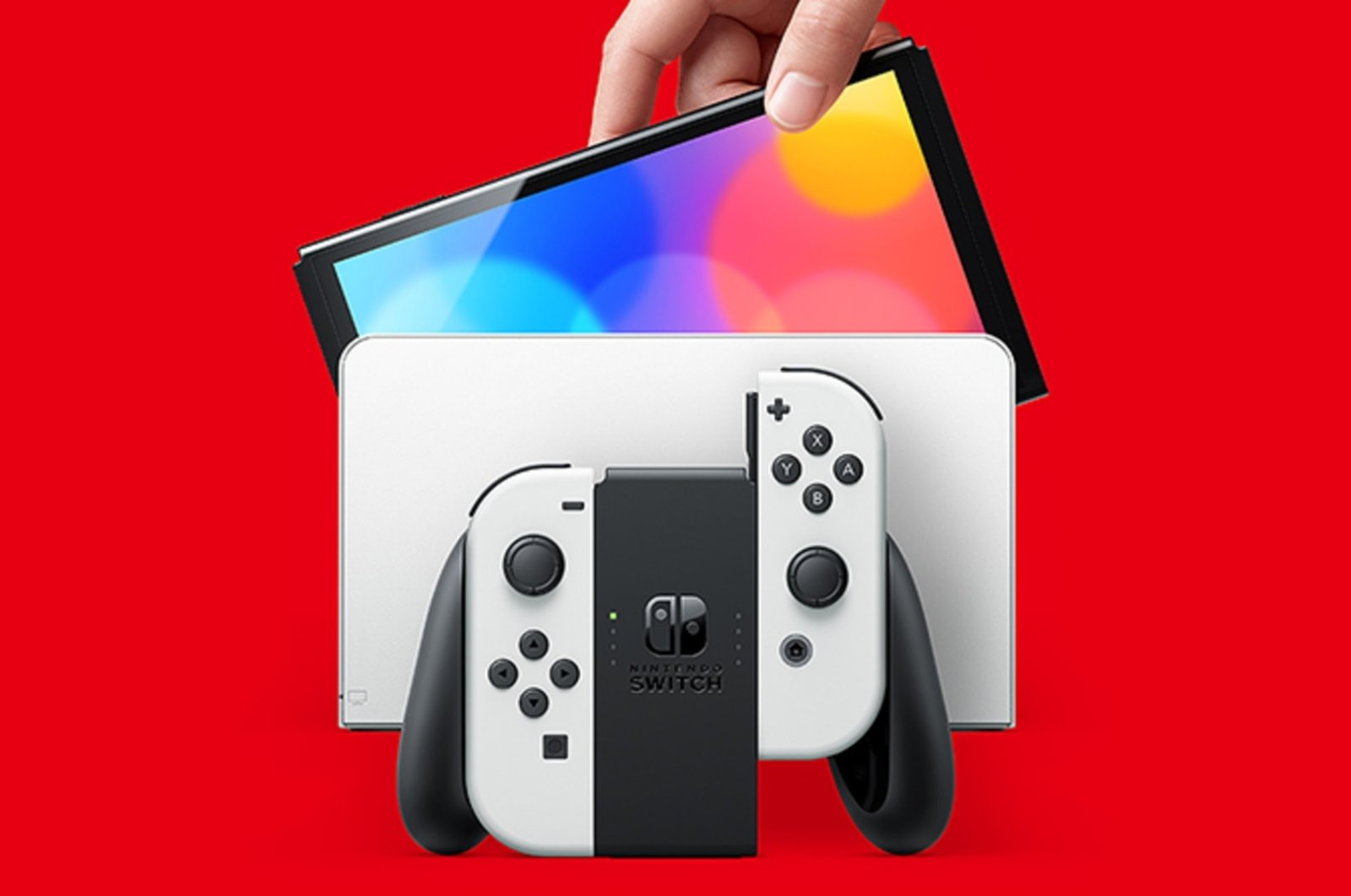 Nintendo Switch's OLED model is seen in this promotional poster (Image credit: Nintendo)