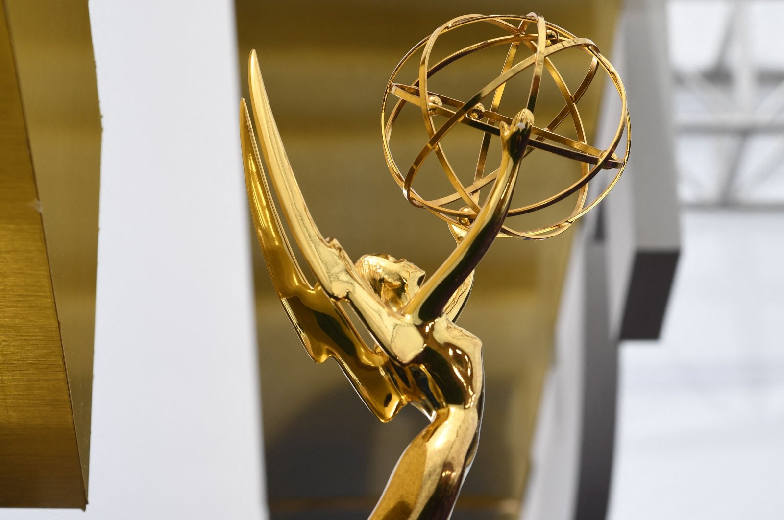 An Emmy statuette is seen on the red carpet before guests arrive for the 71st Emmy Awards at the Microsoft Theatre in Los Angeles, U.S., Sept. 22, 2019. (AFP Photo)