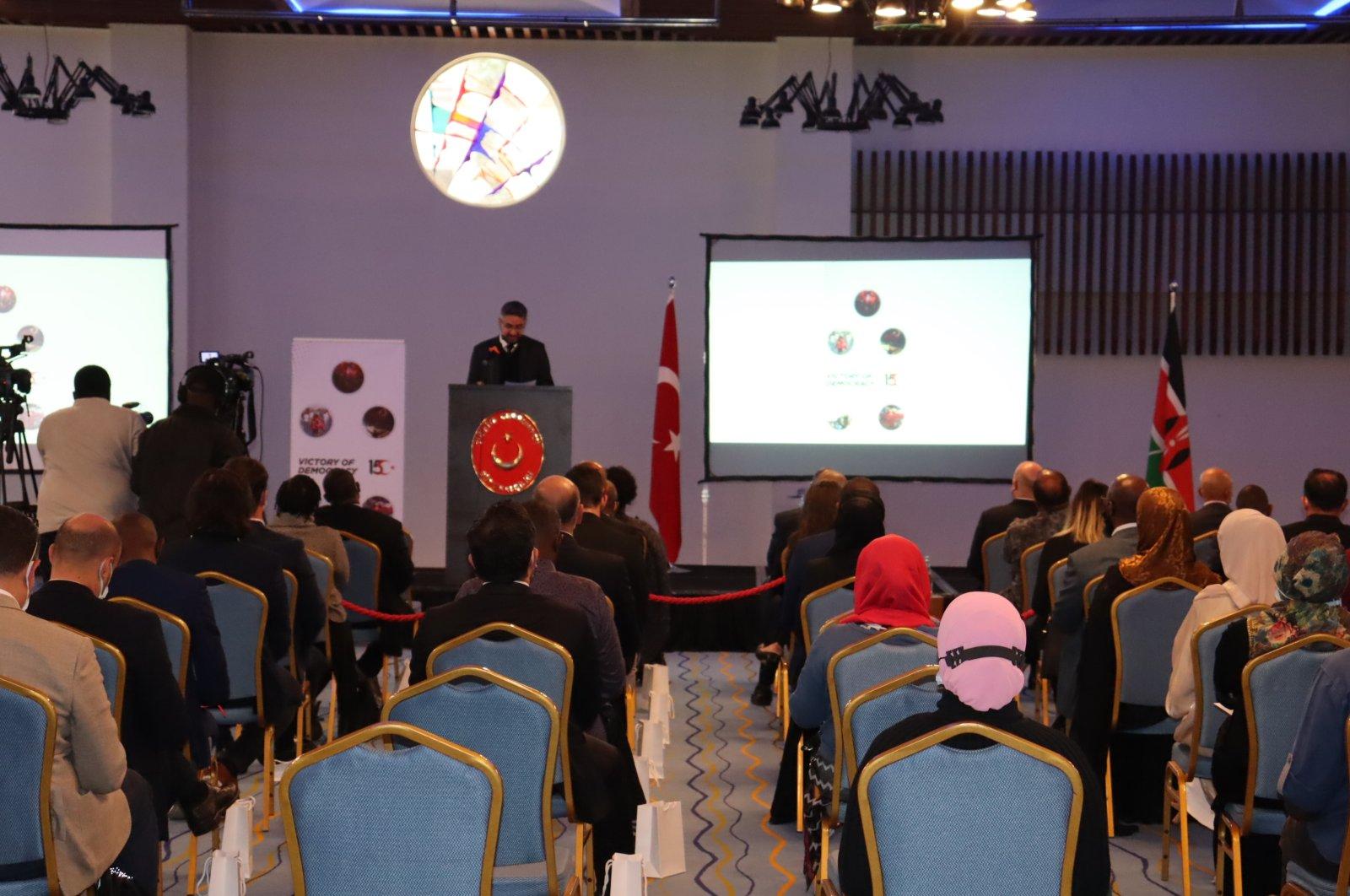 Turkish Cooperation and Coordination Agency (TIKA) Nairobi coordinator Eyüp Yavuz Ümütlü speaking during an organization to celebrate Turkey's defeat of the 2016 coup attempt, Nairobi, Kenya, July 11, 2021 (AA Photo)