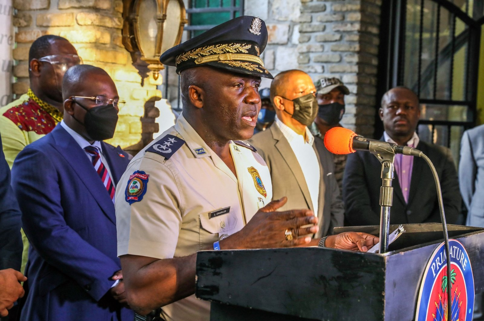Haiti's Police General Director Leon Charles speaks during a press conference in Port-au Prince, Haiti, on July 11, 2021. (AFP Photo)