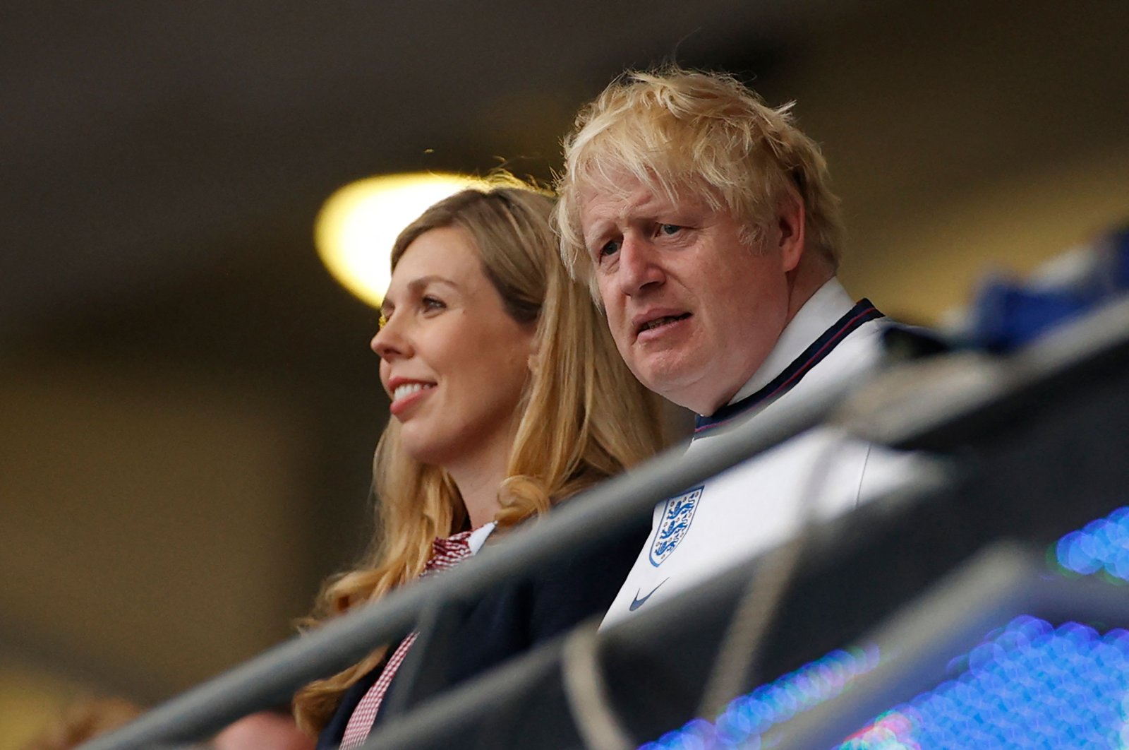 Britain's Prime Minister Boris Johnson (R) and wife Carrie take their seats ahead of the UEFA Euro 2020 final football match between Italy and England at the Wembley Stadium in London on July 11, 2021. (AFP Photo)