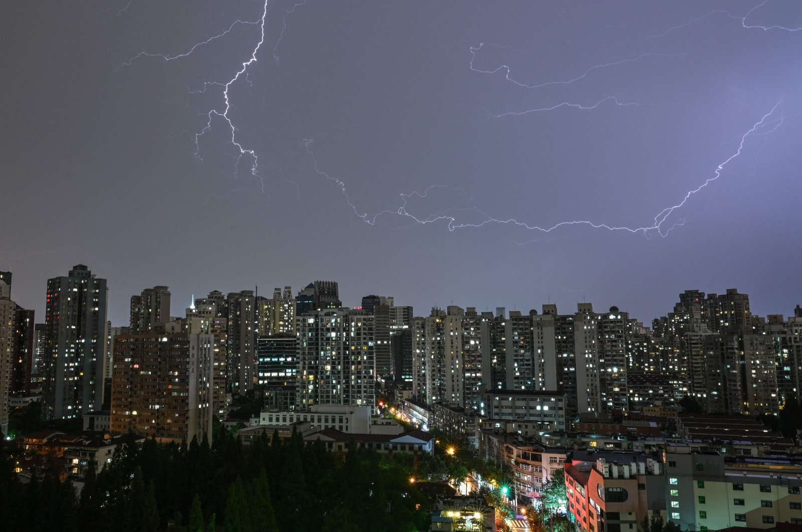 Lightning strikes during a thunderstorm over Shanghai, China, July 5, 2021. (AFP Photo)