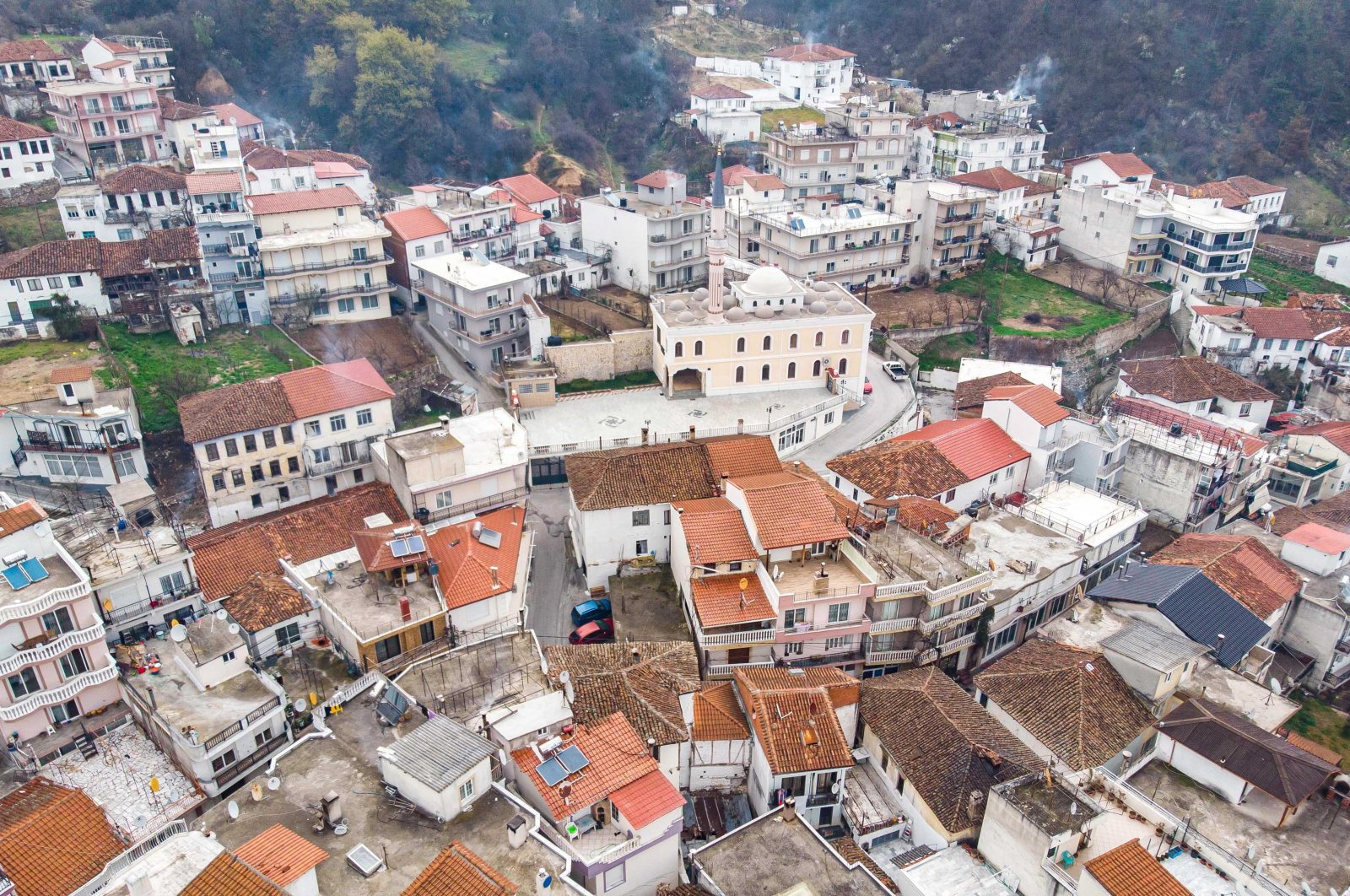 Aerial view from a drone of Echinos village in Greece on March 31, 2020. (Getty Images)