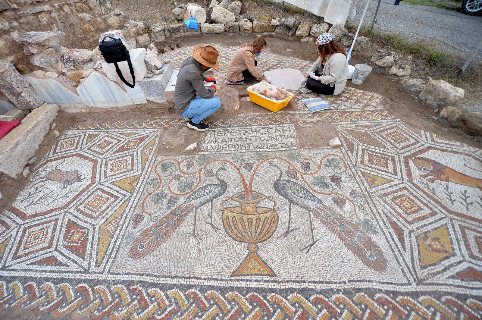 Archaeologists work on mosaics of the ancient city of Hadrianopolis, Karabük, Turkey, July 11, 2021. (AA Photo)