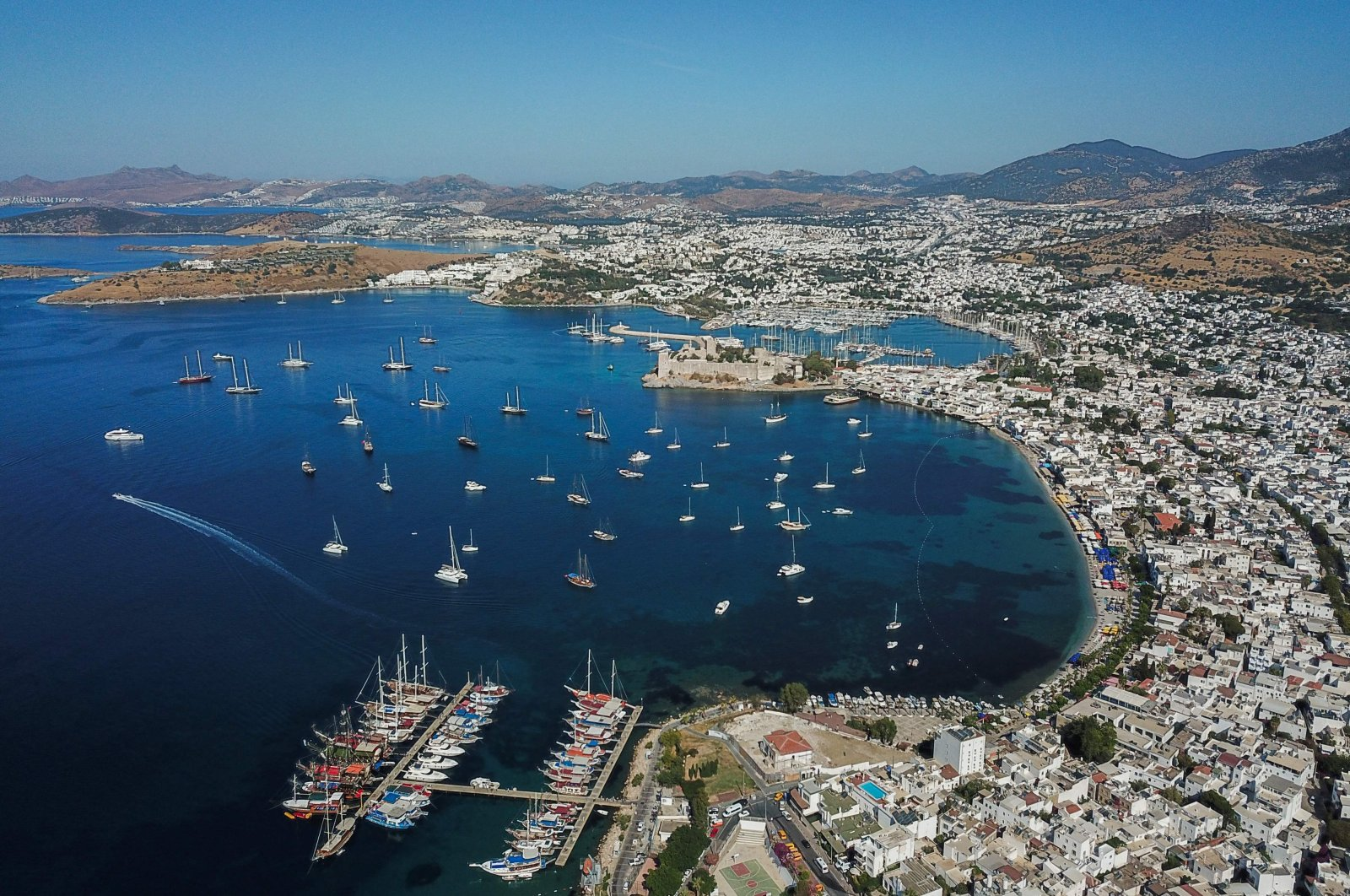 This aerial view shows the city of Bodrum, a tourist hotspot on the Aegean Sea, southwestern Turkey, June 17, 2021. (AFP Photo)