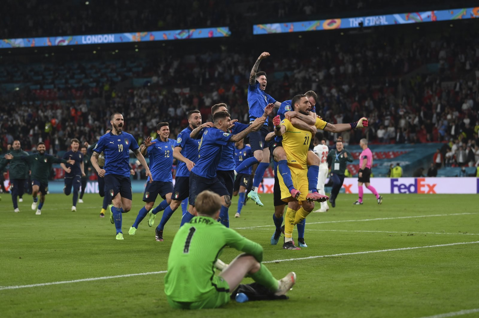 Italian players celebrate winning the penalty shootout against England in the Euro 2020 final at Wembley, London, Englan, July 11, 2021. (AP Photo)