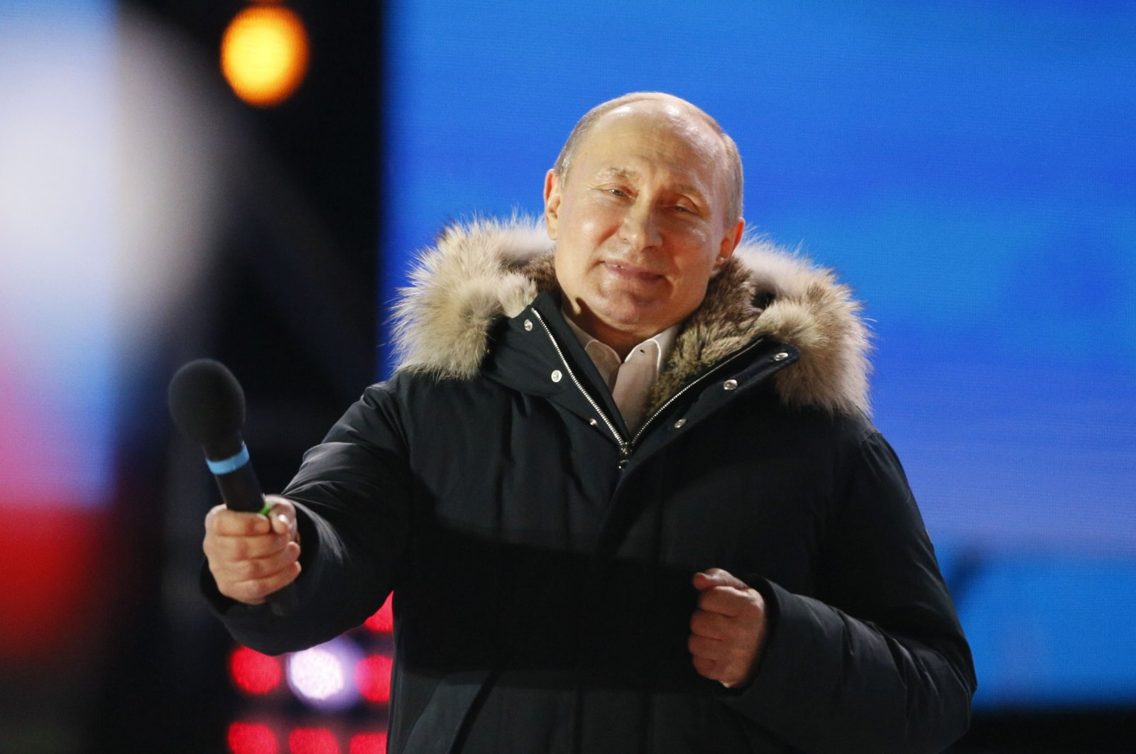 Russian President and Presidential candidate Vladimir Putin attends a rally and concert marking the fourth anniversary of Russia's annexation of the Crimea region, at Manezhnaya Square in central Moscow, Russia, March 18, 2018. (Reuters Photo)