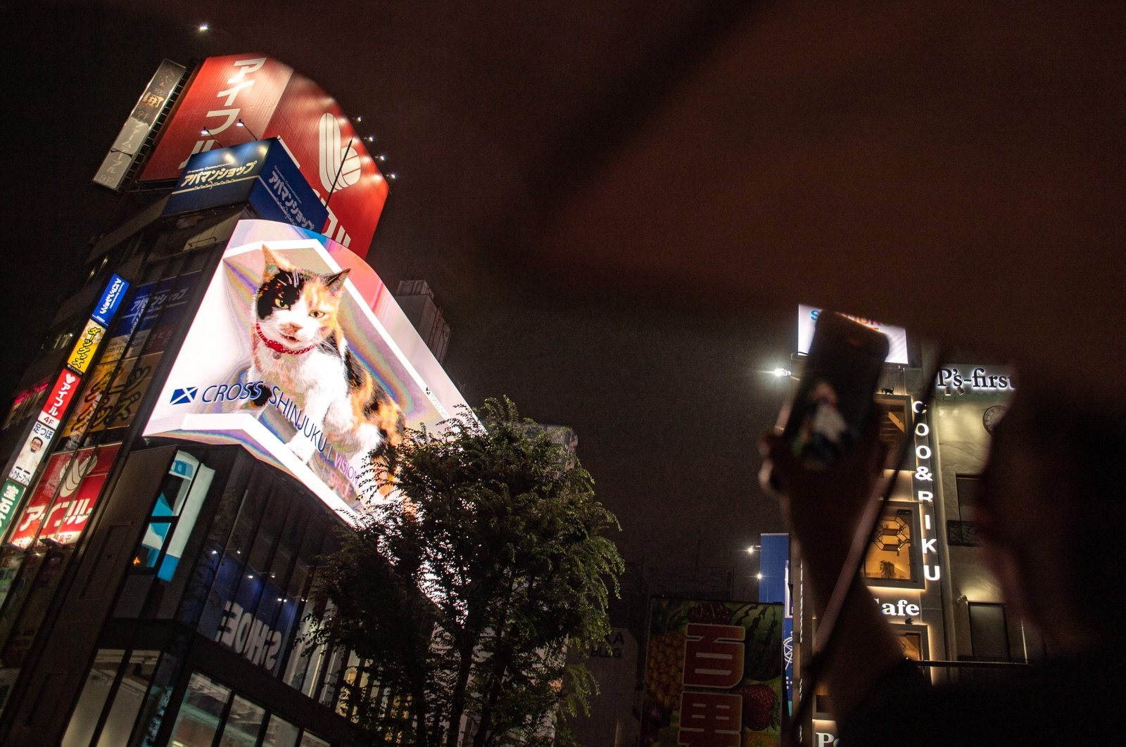 A pedestrian takes pictures of a giant cat on a screen in Tokyo's Shinjuku district as Japan announces a new virus-related state of emergency for the Tokyo Olympics, Tokyo, Japan, July 8, 2021. (AFP Photo)