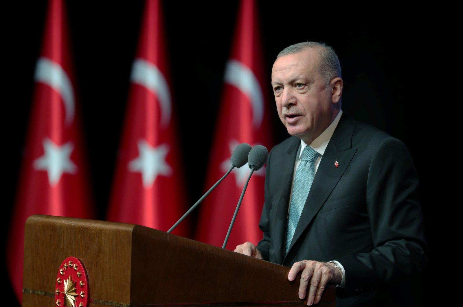 President Tayyip Erdoğan speaks during an action plan meeting to prevent violence against women, in Ankara, Turkey, July 1, 2021. (Presidential Press Office Handout via Reuters)