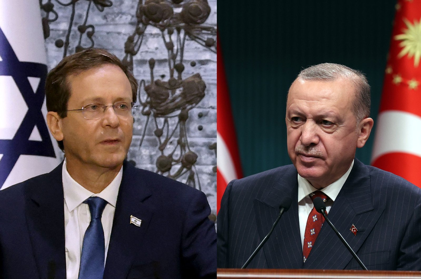 Israeli President Isaac Herzog (L) looks on during a press conference at the president's residence in West Jerusalem, Israel, July 7, 2021. President Recep Tayyip Erdoğan prepares to give a press conference at Ankara's Presidential Complex, Turkey, July 12, 2021. (Photos by AFP & AA)