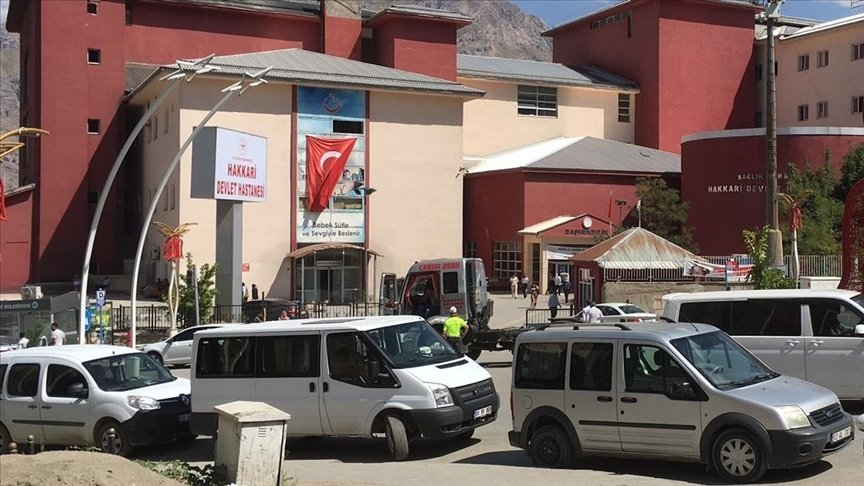 A view of the hospital where the deputy police chief was taken, in Hakkari, southeastern Turkey, July 13, 2021. (AA PHOTO)