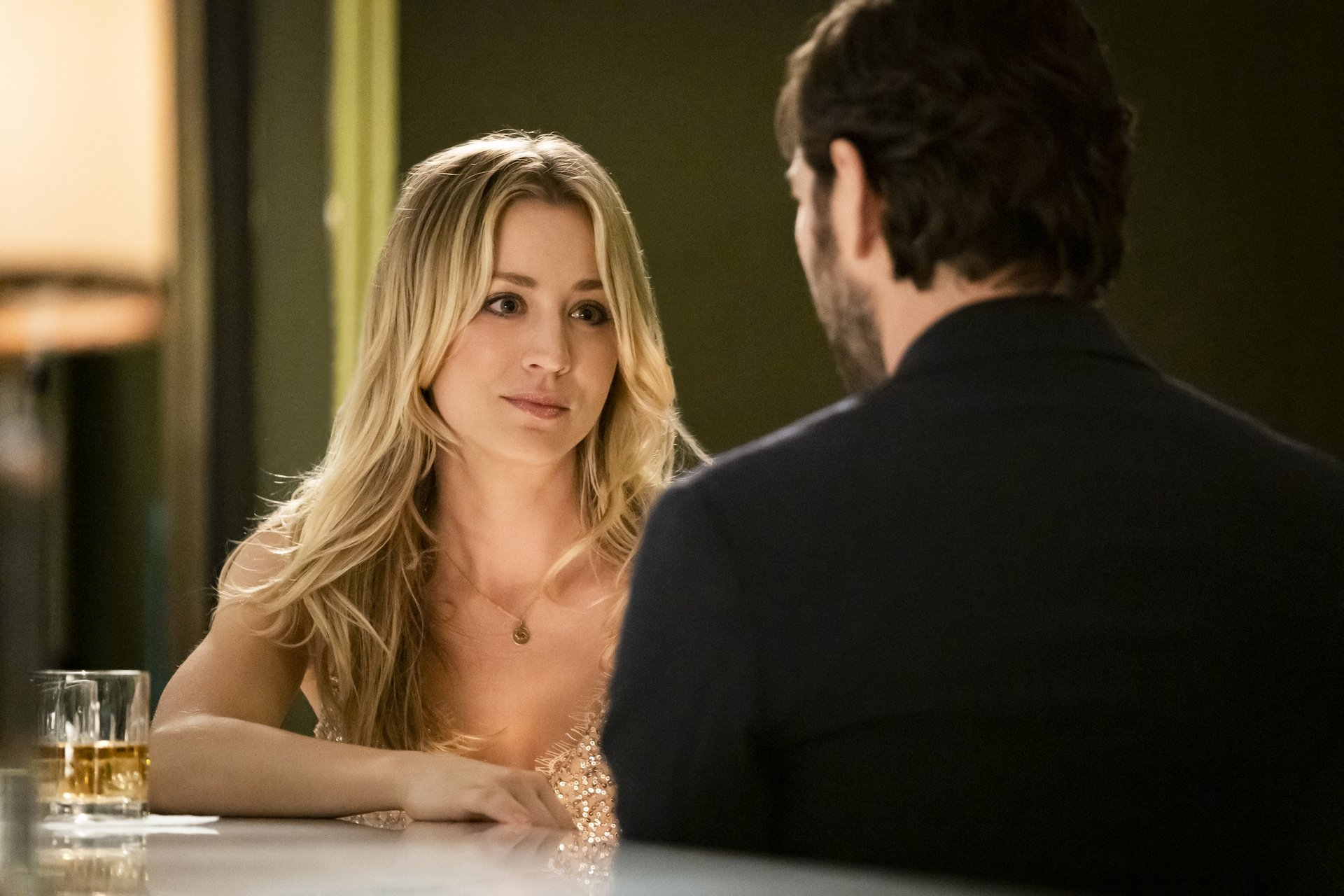 Kaley Cuoco (L) and Michiel Huisman in a scene from 'The Flight Attendant.' Cuoco was nominated for an Emmy Award for outstanding leading actress in a comedy series. (HBO Max via AP)