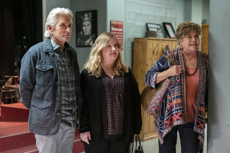 Michael Douglas (L) Sarah Baker (C) and Kathleen Turner in a scene from 'The Kominsky Method.'  (Netflix via AP)