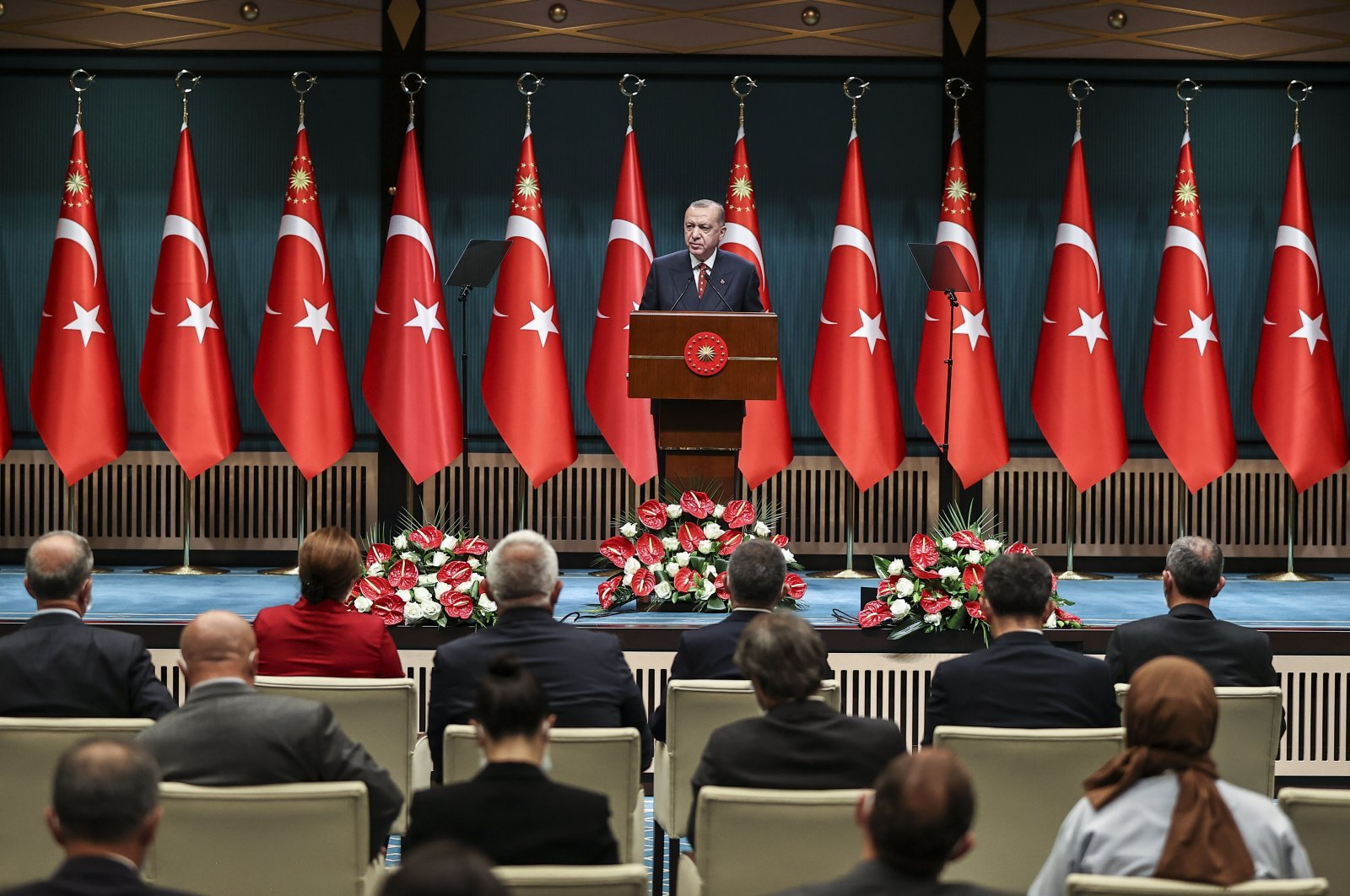 Turkish President Recep Tayyip Erdoğan speaking after the Cabinet meeting at the Presidential Complex in Ankara, Turkey, July 12, 2021. (AA Photo)
