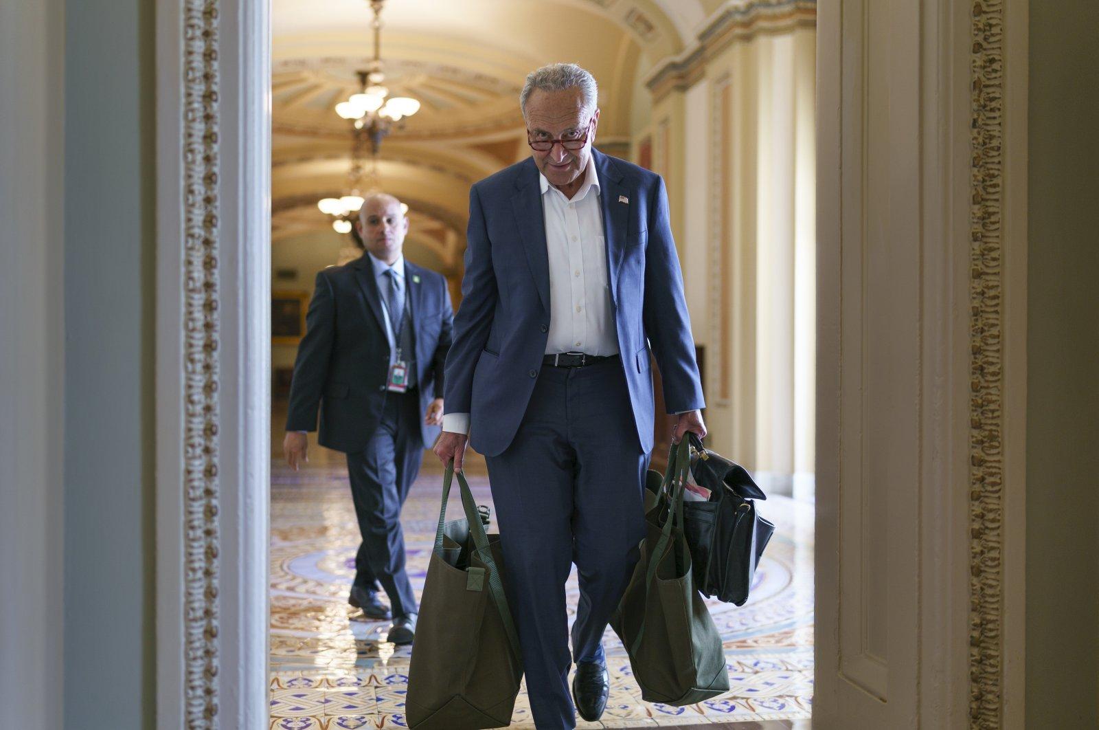 Senate Majority Leader Chuck Schumer arrives at the Capitol in Washington, U.S., July 12, 2021. (AP Photo)