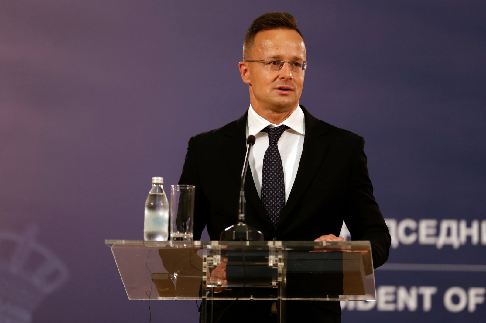 Hungarian Foreign Minister Peter Szijjarto addresses the media after a decoration ceremony in Belgrade, Serbia, July, 8, 2021. (EPA Photo)