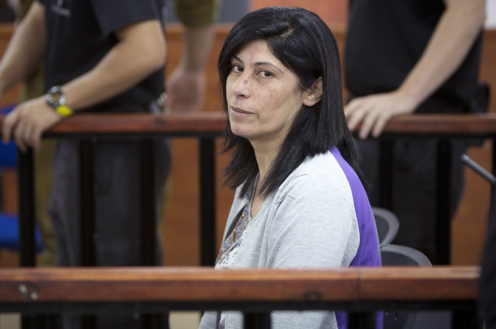 Palestinian parliamentarian Khalida Jarrar of the Popular Front for the Liberation of Palestine (PFLP) attends a court session at the Israeli Ofer military base near the West Bank city of Ramallah, Palestine, May 21, 2015. (AP Photo)