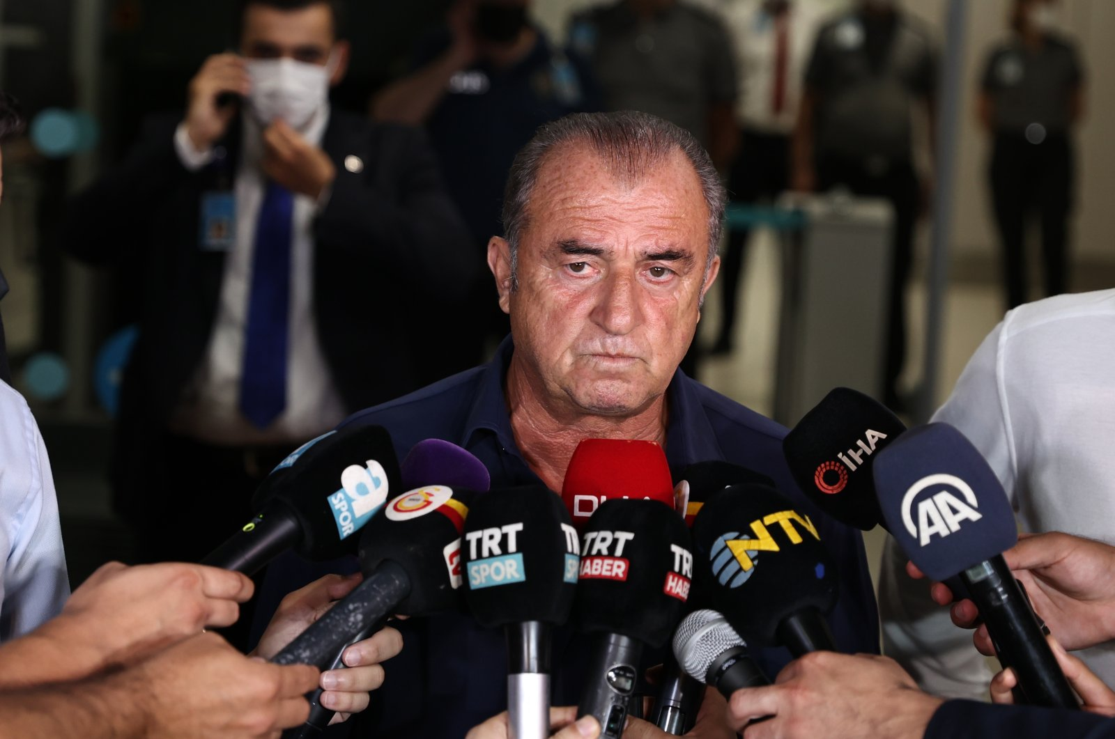 Galatasaray coach Fatih Terim speaks to the media after arriving in Istanbul, Turkey, July 13, 2021. (AA Photo)