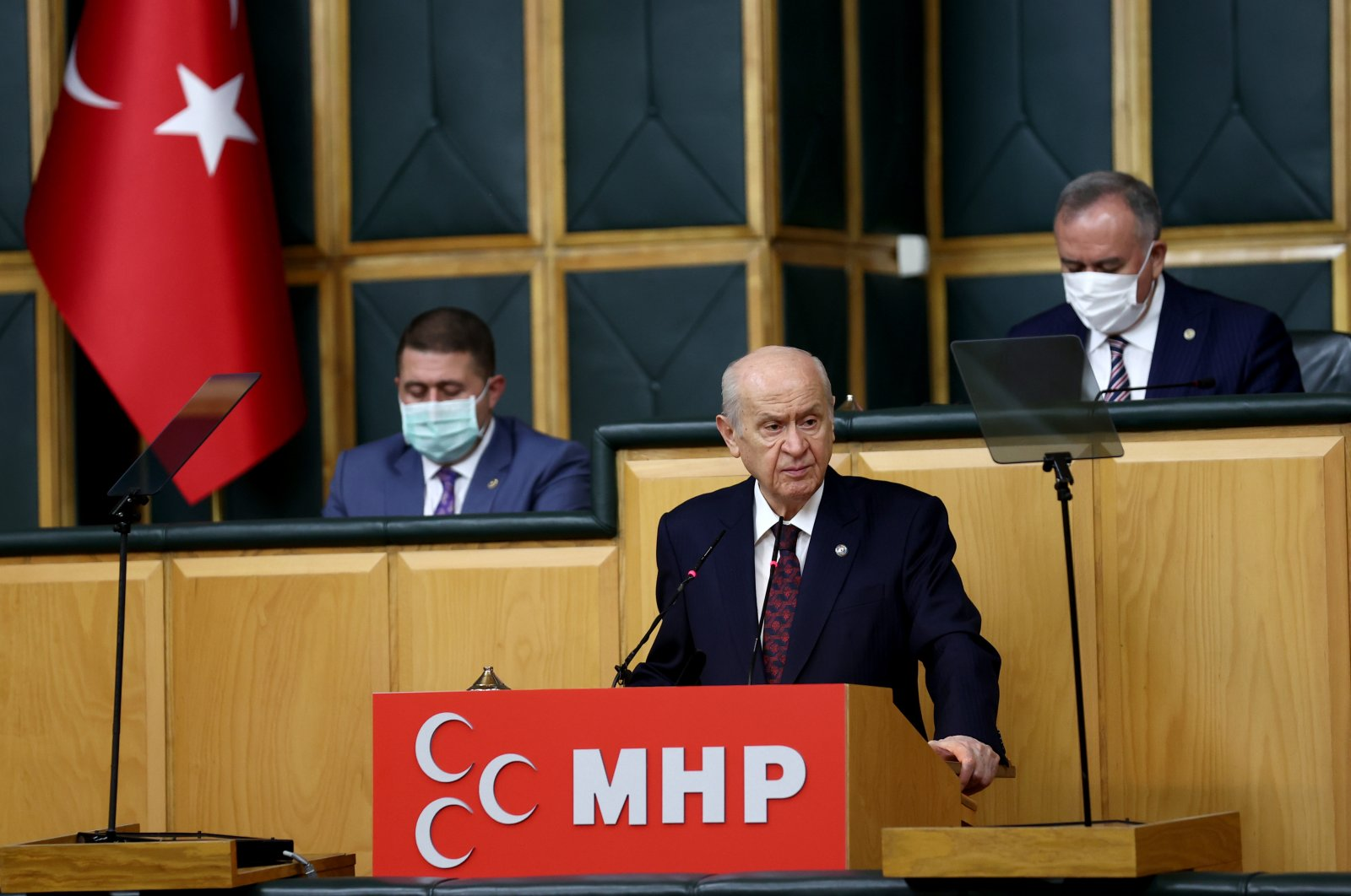 MHP Chairperson Devlet Bahçeli speaks at his party's parliamentary group meeting at the Turkish Parliament in Ankara, July 13, 2021. (AA Photo)
