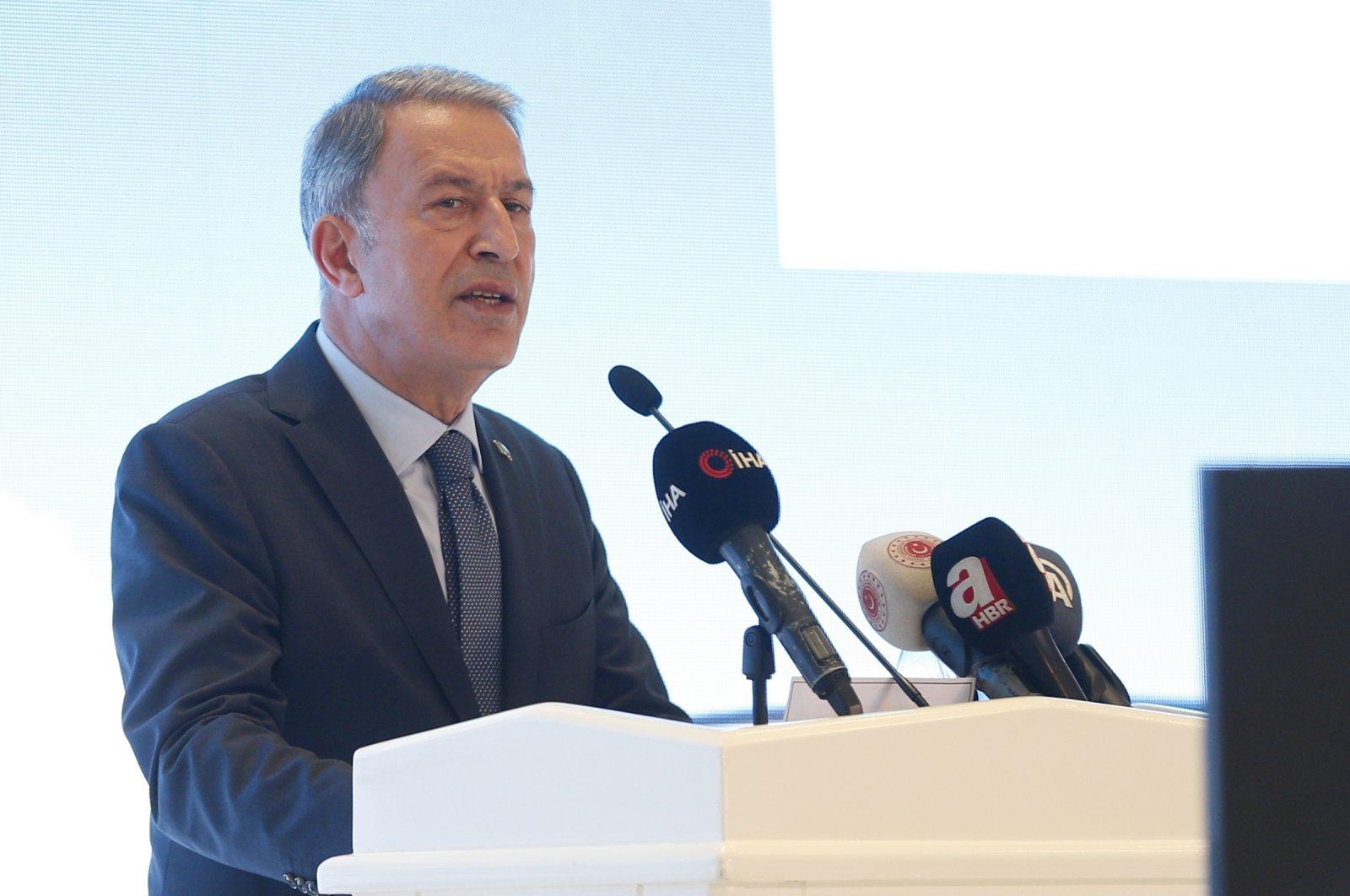 Defense Minister Hulusi Akar speaks at the opening of a plane maintenance facility, Kayseri, Turkey, July 8, 2021. (AA Photo)