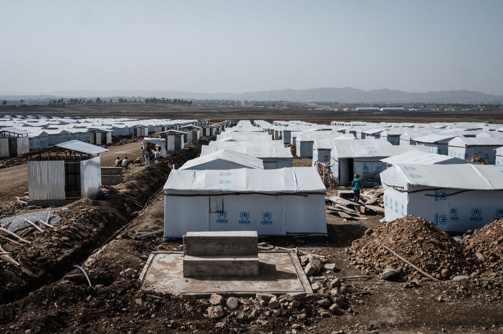 Shelters are seen at a newly built internally displaced person (IDP) camp which will host about 19,000 people near Mekelle Industrial Park in Mekele, the capital of Tigray region, Ethiopia, on June 28, 2021. (AFP Photo)