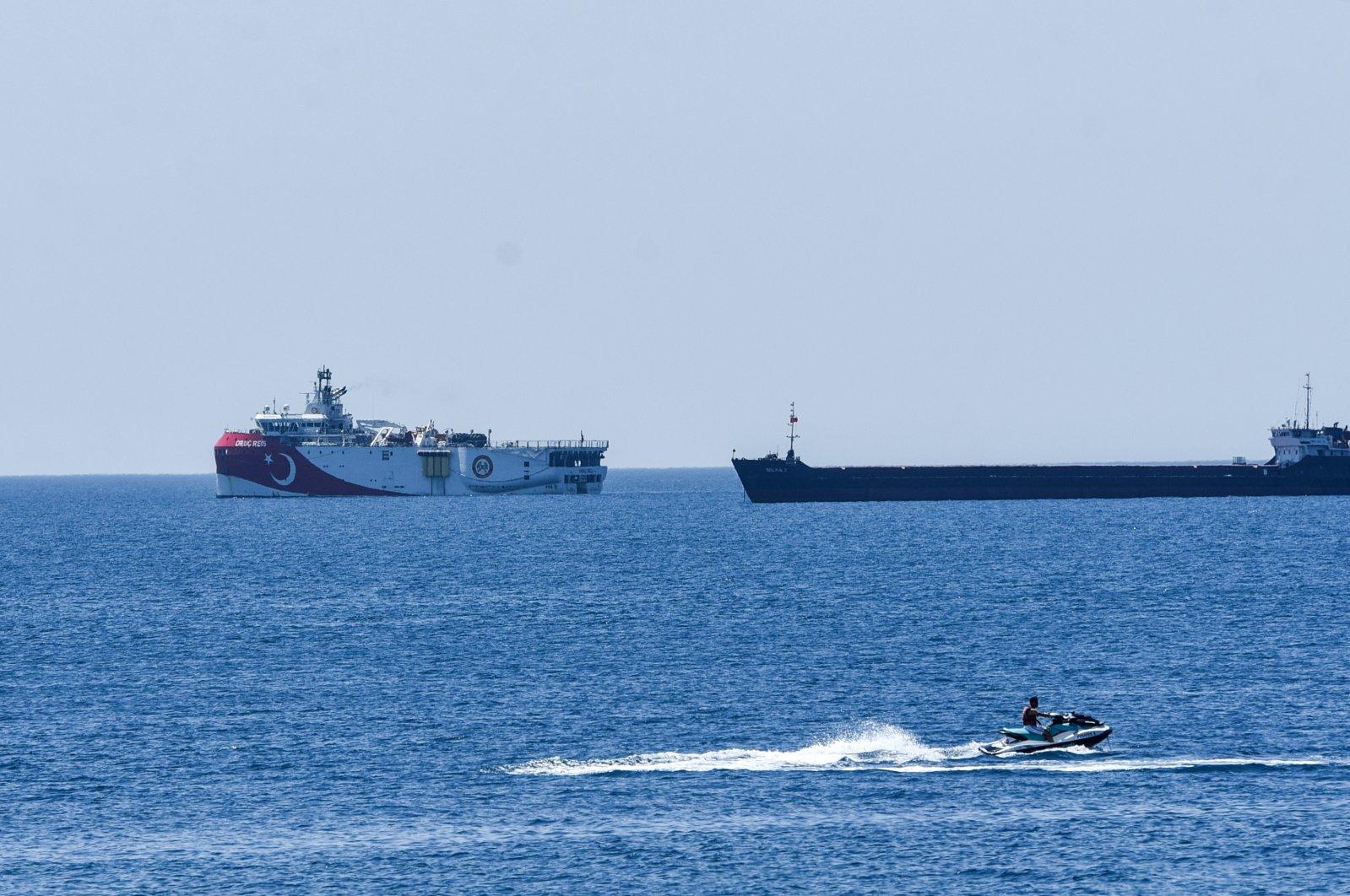 Turkey's seismic research vessel, Oruç Reis, is seen off the southern Turkish coast of Antalya in the Eastern Mediterranean, July 22, 2020. (DHA Photo)