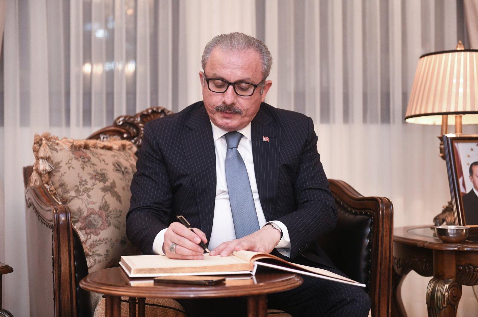 Parliament Speaker Mustafa Şentop visits the Turkish embassy in Kuwait as part of his official visit, July 12, 2021. (AA Photo)