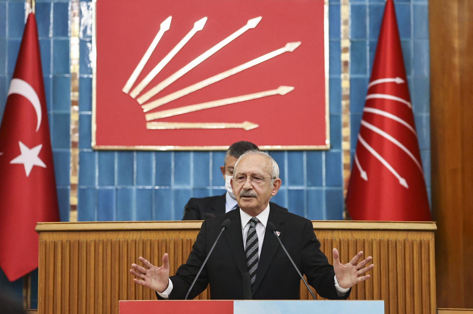CHP Chairperson Kemal Kılıçdaroğlu speaks at his party's parliamentary group meeting in Ankara, Turkey, July 13, 2021. (AA Photo)